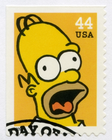 USA - CIRCA 2009: A stamp printed in United States shows Homer Jay Simpson, circa 2009 Stock Photo - 17298715