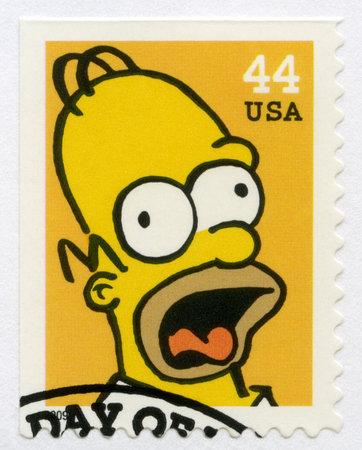 USA - CIRCA 2009: Ein Stempel in den Vereinigten Staaten von Amerika gedruckt zeigt Homer Jay Simpson, circa 2009