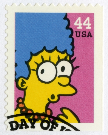 marge: USA - CIRCA 2009: A stamp printed in United States shows Marjorie Marge Simpson, circa 2009 Editorial