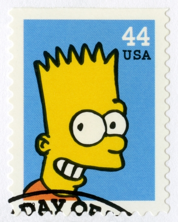 USA - CIRCA 2009: A stamp printed in United States shows Bartholomew JoJo 'Bart' Simpson, circa 2009