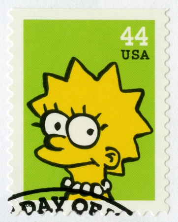 simpson: USA - CIRCA 2009: A stamp printed in United States shows Lisa Marie Simpson, circa 2009 Editorial