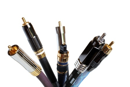 home audio: Group  of audiovideo cables isolated on a white background