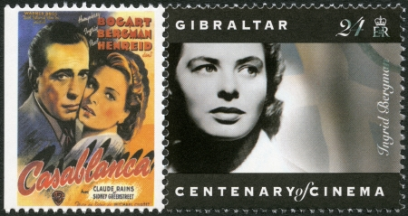 GIBRALTAR - CIRCA 1995: A stamp printed in Gibraltar shows Ingrid Bergman (1915-1982), actress, circa 1995