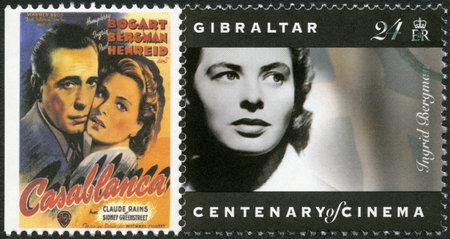 GIBRALTAR - CIRCA 1995: A stamp printed in Gibraltar shows Ingrid Bergman (1915-1982), actress, circa 1995 Reklamní fotografie - 17378307
