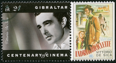 GIBRALTAR - CIRCA 1995: A stamp printed in Gibraltar shows Vittorio De Sica (1901-1974), director, actor, circa 1995 Stock Photo - 17378315