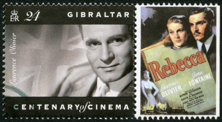 fontaine: GIBRALTAR - CIRCA 1995: A stamp printed in Gibraltar shows Laurence Olivier (1907-1989), actor, director, and producer, circa 1995 Editorial