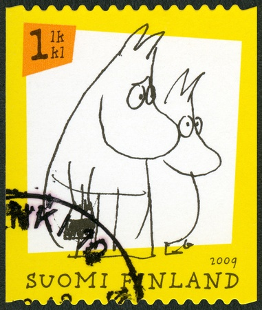 FINLAND - CIRCA 2009: A stamp printed in Finland shows Moomin characters, circa 2009
