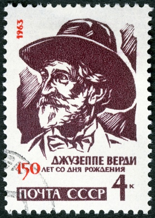 USSR - CIRCA 1963   A stamp printed in USSR shows Giuseppe Verdi  1813-1901 , Italian composer, 150th birth anniversary, circa 1963