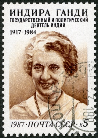 USSR - CIRCA 1987   A stamp printed in USSR shows Indira Gandhi  1917-1984 , Indian Prime Minister, circa 1987 Stock Photo - 17402725
