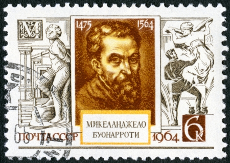 USSR - CIRCA 1964: A stamp printed in USSR shows Michelangelo (1475-1564), 400th death anniversary, circa 1964 Stock Photo - 17402727
