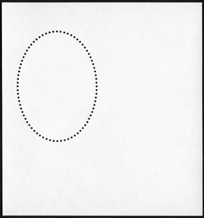 unstuck: Blank postage stamp block on a black background Stock Photo