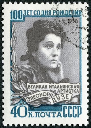 USSR - CIRCA 1958: A stamp printed in USSR shows Eleonora Duse (1858-1924), Italian actress, birth century, circa 1958