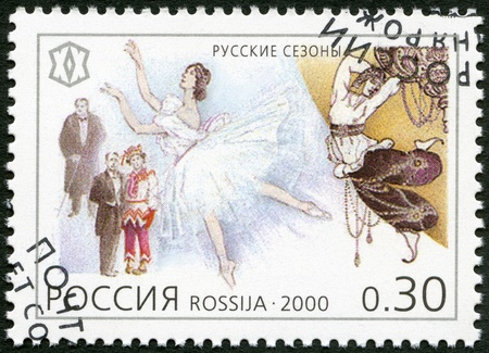 milestones: RUSSIA - CIRCA 2000: A stamp printed in Russia shows Tours of Russian ballet and opera companies, 1908-1914, The Russian Seasons, series National Cultural Milestones in the 20th Century, circa 2000