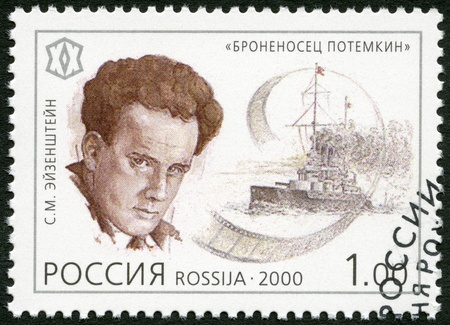 milestones: RUSSIA - CIRCA 2000: A stamp printed in Russia shows Battleship Potemkin, movie by Sergei M. Eisenstein (1898-1948), 1925, series National Cultural Milestones in the 20th Century, circa 2000