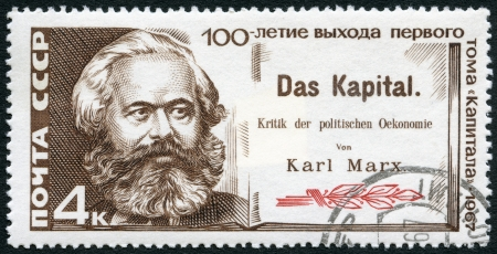 USSR - CIRCA 1967: A stamp printed in USSR shows Karl Marx and Title Page of