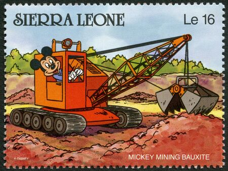 SIERRA LEONE - CIRCA 1990: A stamp printed in Sierra Leone shows Mickey Mouse mining bauxite, Walt Disney Characters, circa 1990 Editorial