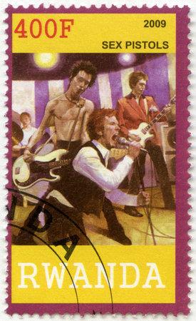 RWANDA - CIRCA 2009: A stamp printed in Republic of Rwanda shows Sex Pistols, circa 2009 Stock Photo - 17838217