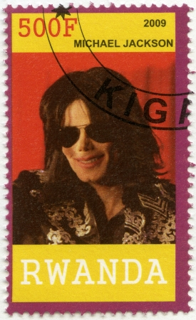 RWANDA - CIRCA 2009: A stamp printed in Republic of Rwanda shows Michael Joseph Jackson (1958-2009), circa 2009