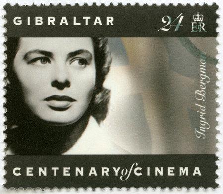 GIBRALTAR - CIRCA 1995: Eine Briefmarke in Gibraltar gedruckt zeigt Ingrid Bergman (1915-1982), Schauspielerin, circa 1995