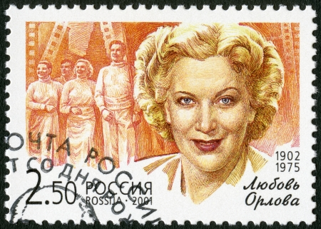 RUSSIA - CIRCA 2001: A stamp printed in Russia shows Lubov P. Orlova (1902-1975), a flash from the film