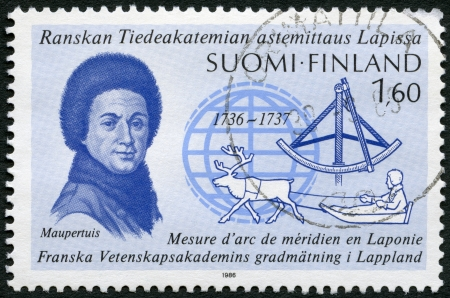 proved: FINLAND - CIRCA 1986: A stamp printed in Finland shows Pierre-Louis Moreau de Maupertuis (1698-1759), Lapland Expedition, 250th anniversary, proved Earths poles are flattened, circa 1986