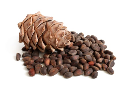 pine nuts: Siberian pine cone and nuts on a white background