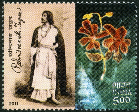 indian postal stamp: INDIA - CIRCA 2011: A stamp printed in India shows Rabindranath Tagore (1861-1941), Indian poet, circa 2011