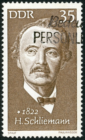 archaeologist: GERMANY - CIRCA 1972: A stamp printed in Germany shows Heinrich Schliemann (1822-1890), archaeologist, circa 1972
