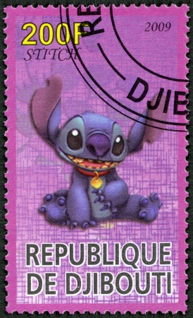 lilo: DJIBOUTI - CIRCA 2009: A stamp printed in Republic of Djibouti shows Scenes from Walt Disneys Lilo and Stitch, circa 2009 Editorial