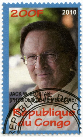 nobel: CONGO - CIRCA 2010: A stamp printed in Congo shows Jack W. Szostak, series Nobel Prize winners, circa 2010