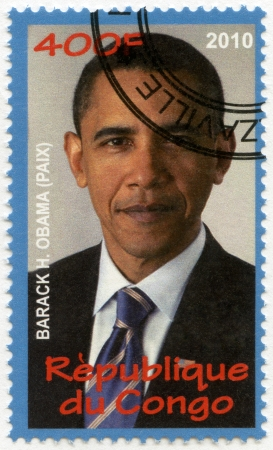 nobel: CONGO - CIRCA 2010: A stamp printed in Congo shows Barack Obama, series Nobel Prize winners, circa 2010