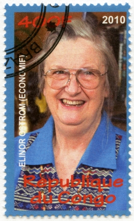 CONGO - CIRCA 2010: A stamp printed in Congo shows  Elinor Ostrom, series Nobel Prize winners, circa 2010
