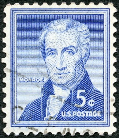 james: USA - CIRCA 1954: A stamp printed in USA shows James Monroe (1758-1831), by Rembrandt Peale, fifth President of the United States, circa 1954 Editorial