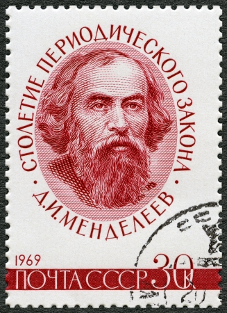 mendeleev: USSR - CIRCA 1969  A stamp printed in USSR shows Dmitri Ivanovich Mendeleev  1834-1907 , Century of the Periodic Law  classification of elements , formulated by Mendeleev, circa 1969