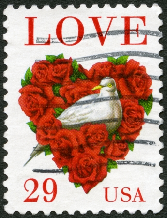 united states postal service: USA - CIRCA 1994  A stamp printed in USA shows word  Stock Photo