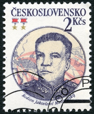 CZECHOSLOVAKIA - CIRCA 1983: A stamp printed in Czechoslovakia shows portrait of the Soviet Marshal Rodion J. Malinovsky (1898-1967), 30th anniversary of Czechoslovak-Soviet defense treaty, circa 1983