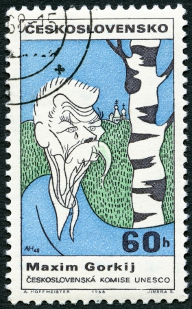 CZECHOSLOVAKIA - CIRCA 1968: A stamp printed in Czechoslovakia shows portrait of Maxim Gorky (1868-1936), series Cultural personalities of the 20th centenary and UNESCO, circa 1968