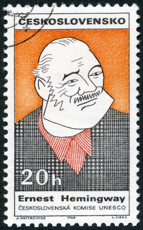 ernest: CZECHOSLOVAKIA - CIRCA 1968: A stamp printed in Czechoslovakia shows portrait of Ernest Hemingway (1899-1961), series Cultural personalities of the 20th centenary and UNESCO, circa 1968