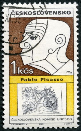 ceramicist: CZECHOSLOVAKIA - CIRCA 1968: A stamp printed in Czechoslovakia shows portrait of  Pablo Picasso (1881-1973), series Cultural personalities of the 20th centenary and UNESCO, circa 1968