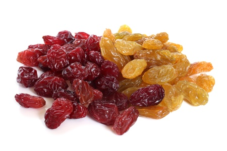 fiber food: Raisins on a white background