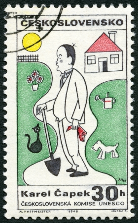 czechoslovakia: CZECHOSLOVAKIA - CIRCA 1968: A stamp printed in Czechoslovakia shows portrait of Karel Capek (1890-1938), series Cultural personalities of the 20th centenary and UNESCO, circa 1968 Editorial