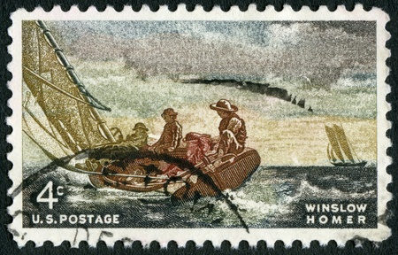 printmaker: USA - CIRCA 1962: A stamp printed in USA shows Breezing Up, by Winslow Homer (1836-1910), circa 1962 Stock Photo