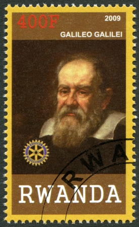 RWANDA - CIRCA 2009: A stamp printed in Republic of Rwanda shows portrait of Galileo Galilei (1564-1642), circa 2009