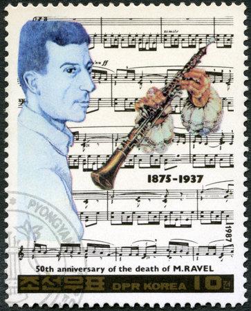 north korea: NORTH KOREA - CIRCA 1987: A stamp printed in North Korea shows Maurice Ravel (1875-1937), series Famous Composers, circa 1987 Editorial