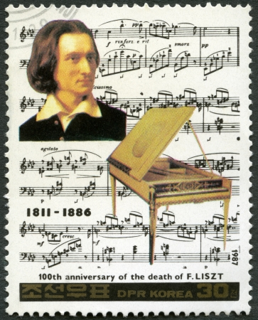 NORTH KOREA - CIRCA 1987: A stamp printed in North Korea shows Franz Liszt (1811-1886), series Famous Composers, circa 1987 Stock Photo - 18018004