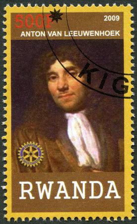 RWANDA - CIRCA 2009: A stamp printed in Republic of Rwanda shows portrait of Antonie van Leeuwenhoek (1632-1723), circa 2009