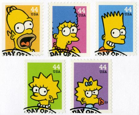 USA - CIRCA 2009: Ein Stempel in den Vereinigten Staaten von Amerika gedruckt zeigt die Simpsons, circa 2009 Editorial