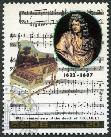 NORTH KOREA - CIRCA 1987: A stamp printed in North Korea shows Jean-Baptiste Lully (1632-1667), series Famous Composers, circa 1987 Stock Photo - 18305936