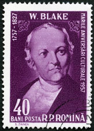 printmaker: ROMANIA - CIRCA 1958: A stamp printed in Romania shows William Blake (1757-1827), English poet, painter and printmaker, by Thomas Phillips, circa 1958