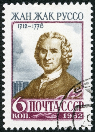 USSR - CIRCA 1962: A stamp printed in USSR shows Jean-Jacques Rousseau (1712-1778), a Genevan philosopher, writer and composer, circa 1962 Stock Photo - 18305938